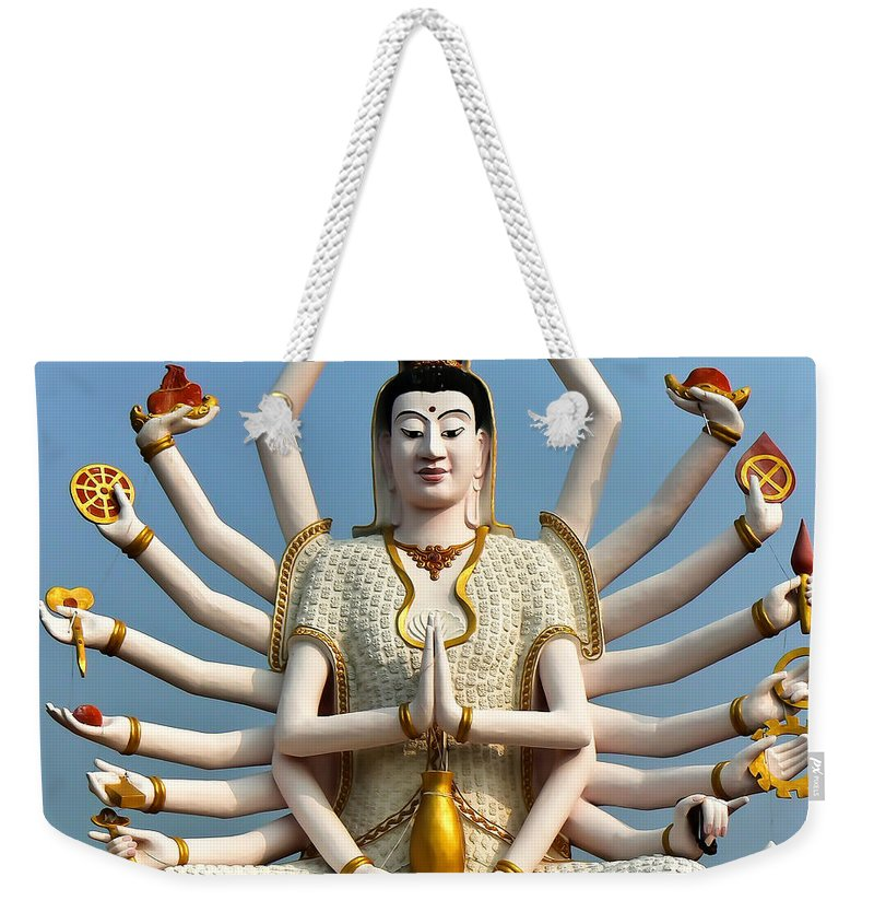 Buddha Weekender Tote Bag featuring the photograph White Buddha by Adrian Evans