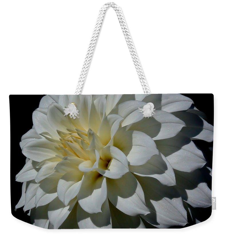 Dahlia Weekender Tote Bag featuring the photograph White Dahlia by Athena Mckinzie
