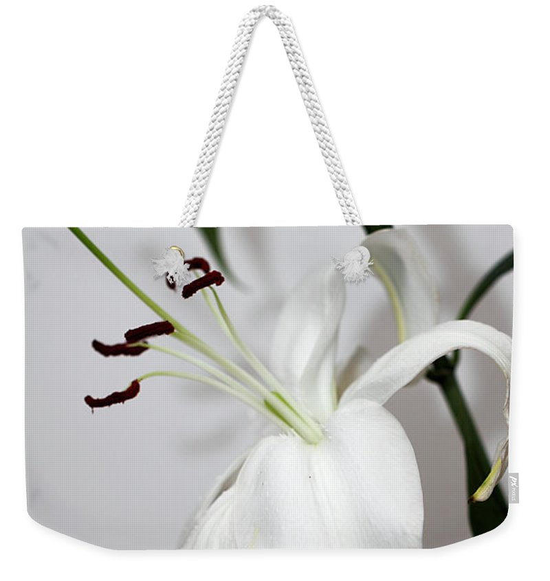 Lily Weekender Tote Bag featuring the photograph White Lily Portrait by Carole-Anne Fooks