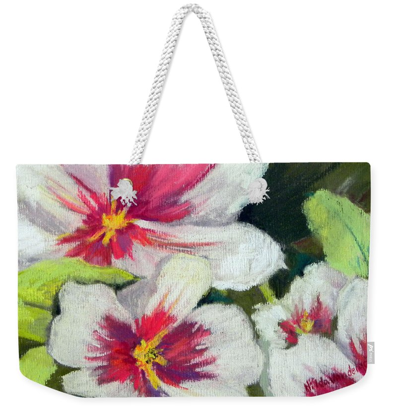 Orchid Weekender Tote Bag featuring the painting White Orchid by Hilda Vandergriff