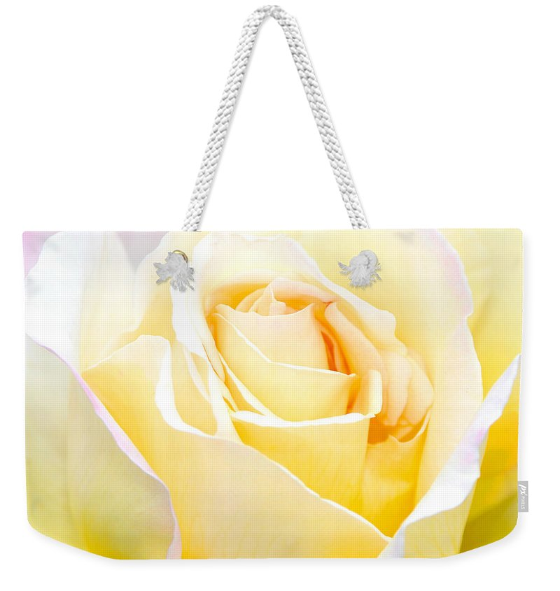 White Weekender Tote Bag featuring the photograph White Rose by Diana Haronis