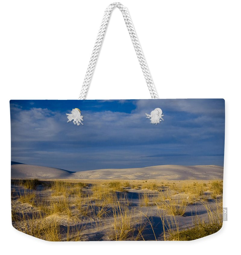 New Mexico Weekender Tote Bag featuring the photograph White Sands Golden Grass by Sean Wray