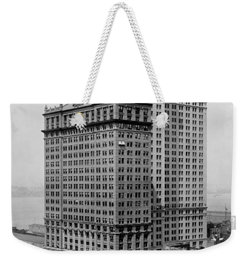 whitehall Buildings Weekender Tote Bag featuring the photograph Whitehall Buildings At Battery Place Station In New York City - 1911 by International Images