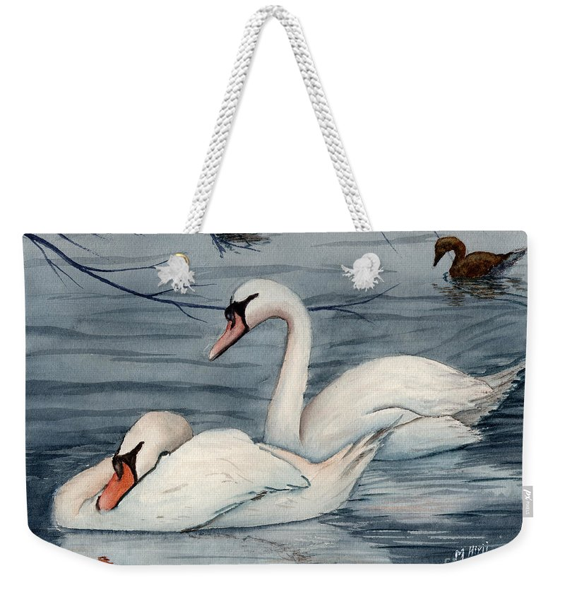 Swans Weekender Tote Bag featuring the painting Who Is Minding The Kids by Mohamed Hirji