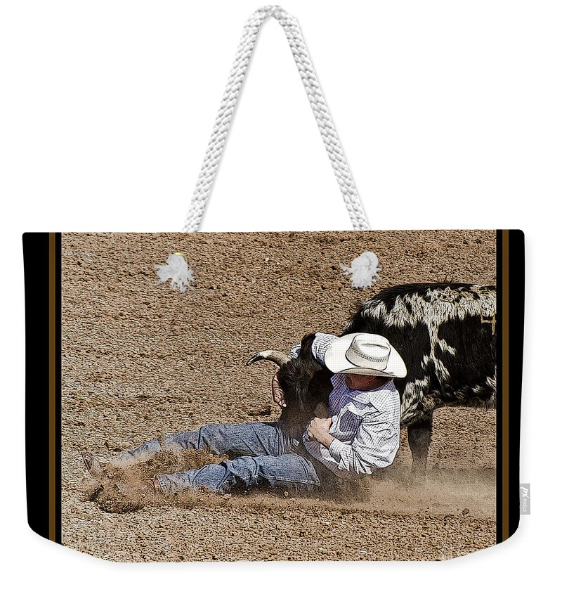 Rodeo Weekender Tote Bag featuring the photograph Whoa Doggy 6 by Larry White