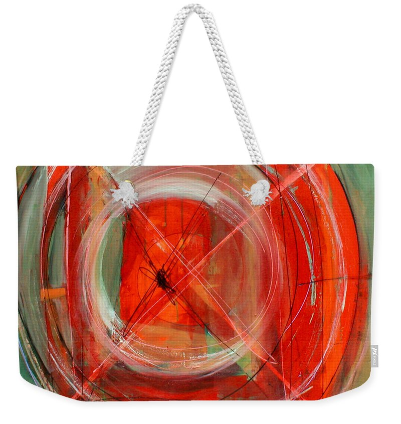 Modern Weekender Tote Bag featuring the painting Why Now by Lynne Taetzsch