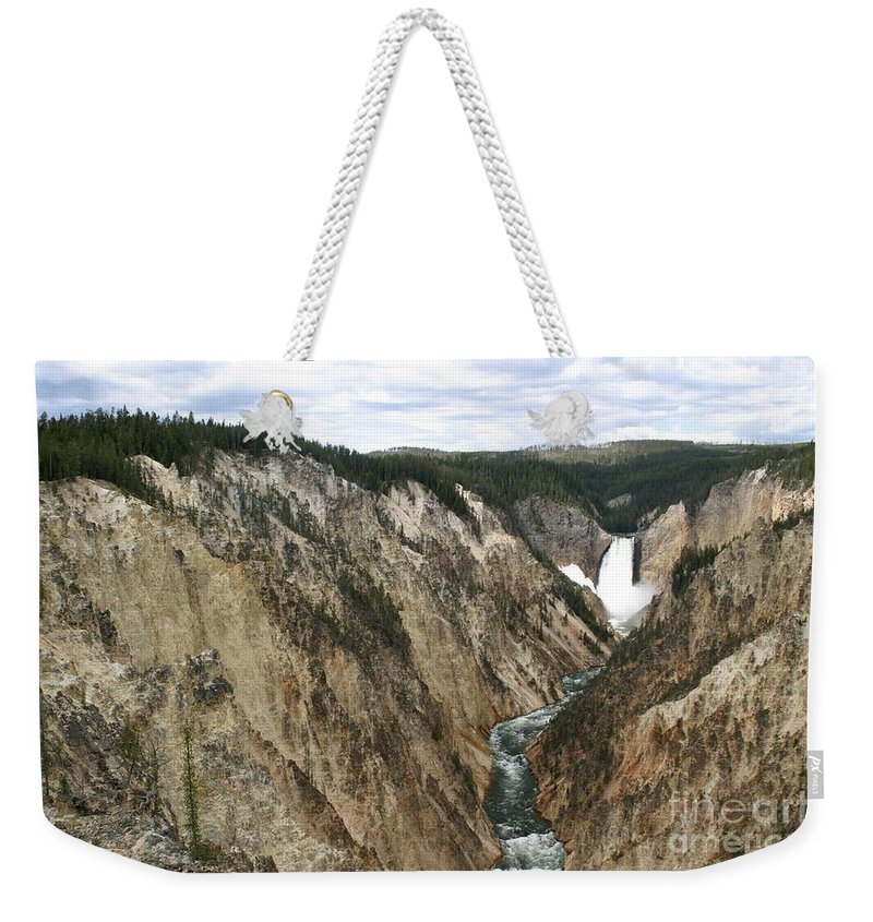 Lower Falls Weekender Tote Bag featuring the photograph Wide View Of The Lower Falls In Yellowstone by Living Color Photography Lorraine Lynch