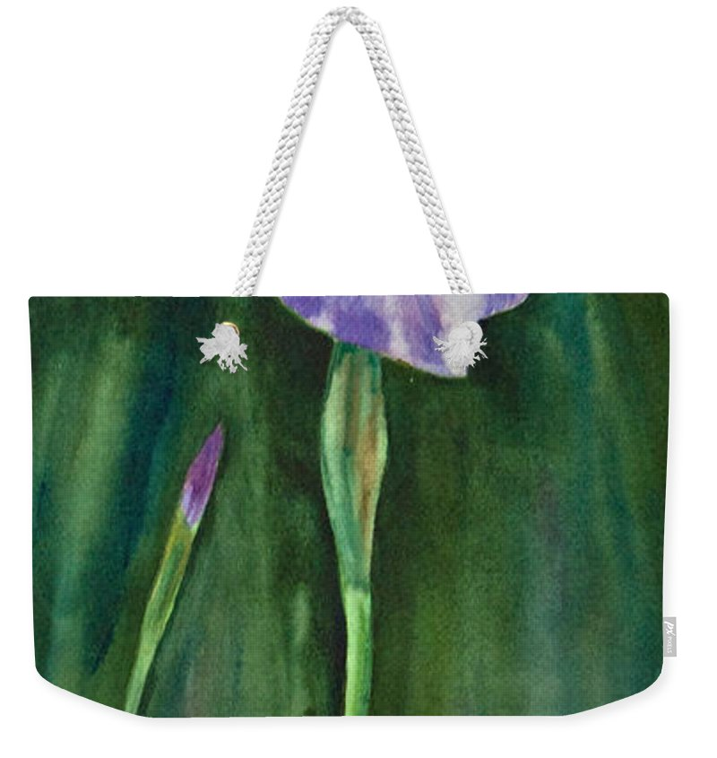 Watercolor Weekender Tote Bag featuring the painting Wild Iris I by Dee Carpenter