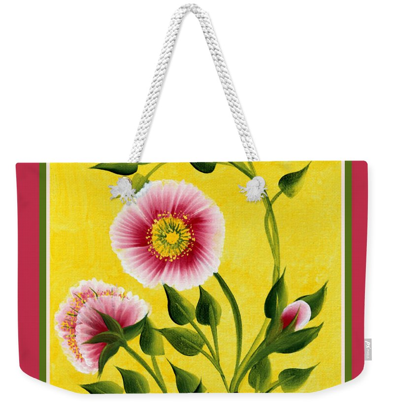 Wild Roses Weekender Tote Bag featuring the painting Wild Roses On Yellow With Borders by Barbara Griffin