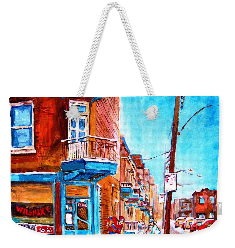Cityscape Weekender Tote Bag featuring the painting Wilensky Corner by Carole Spandau