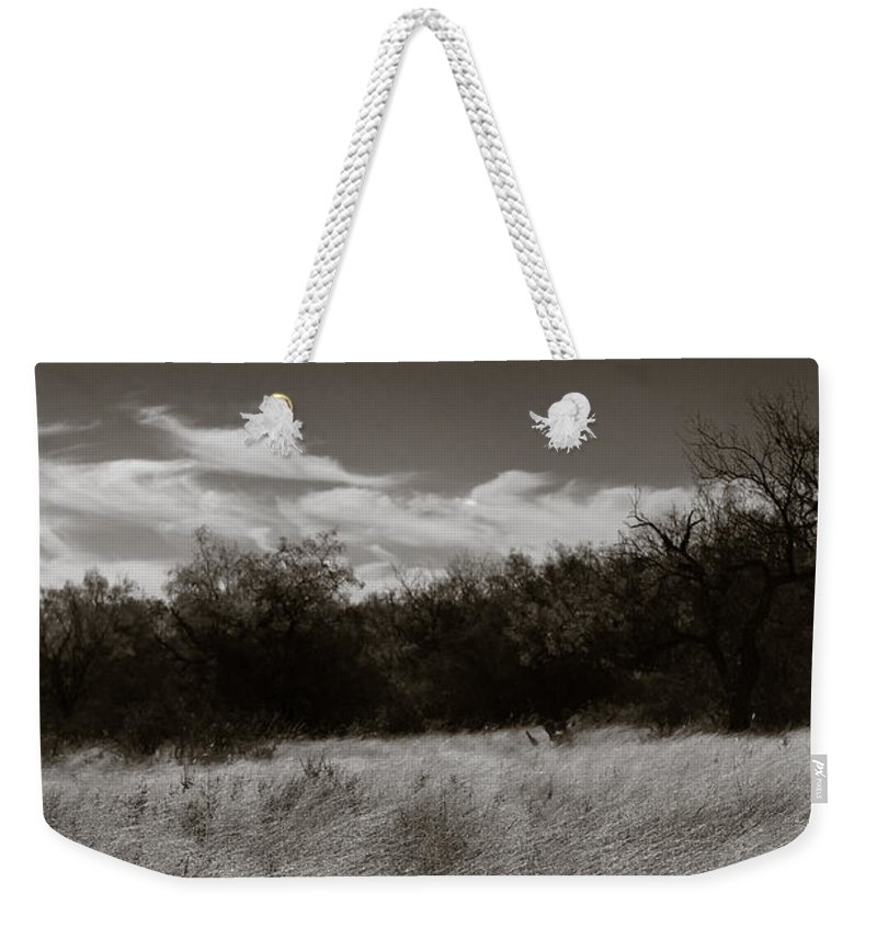 Black And White Weekender Tote Bag featuring the photograph Wind Blown Grass 2 by Sean Wray