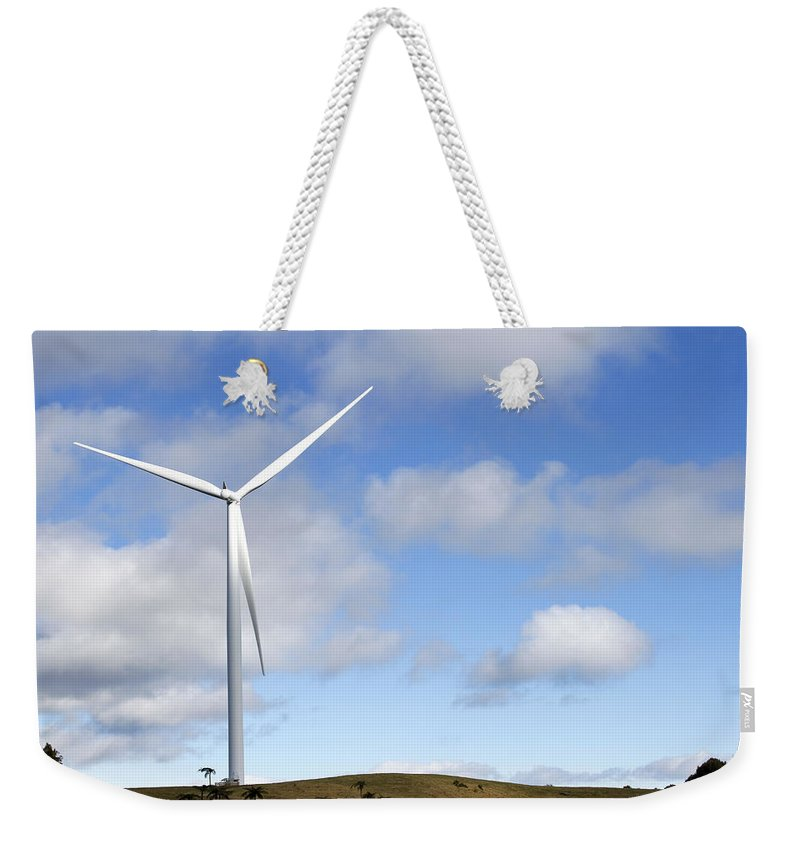 Clouds Weekender Tote Bag featuring the photograph Wind Turbine by Les Cunliffe