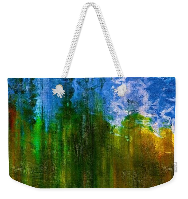 Abstract Weekender Tote Bag featuring the mixed media Windmills In My Mind by Georgiana Romanovna