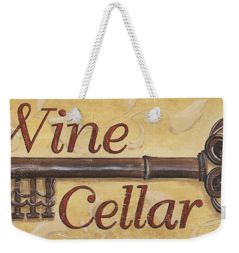 Wine Weekender Tote Bag featuring the painting Wine Cellar by Debbie DeWitt