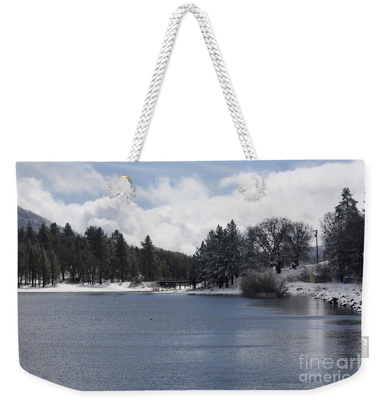 Winter Scene Weekender Tote Bag featuring the photograph Winter By The Lake by Priscilla Monger