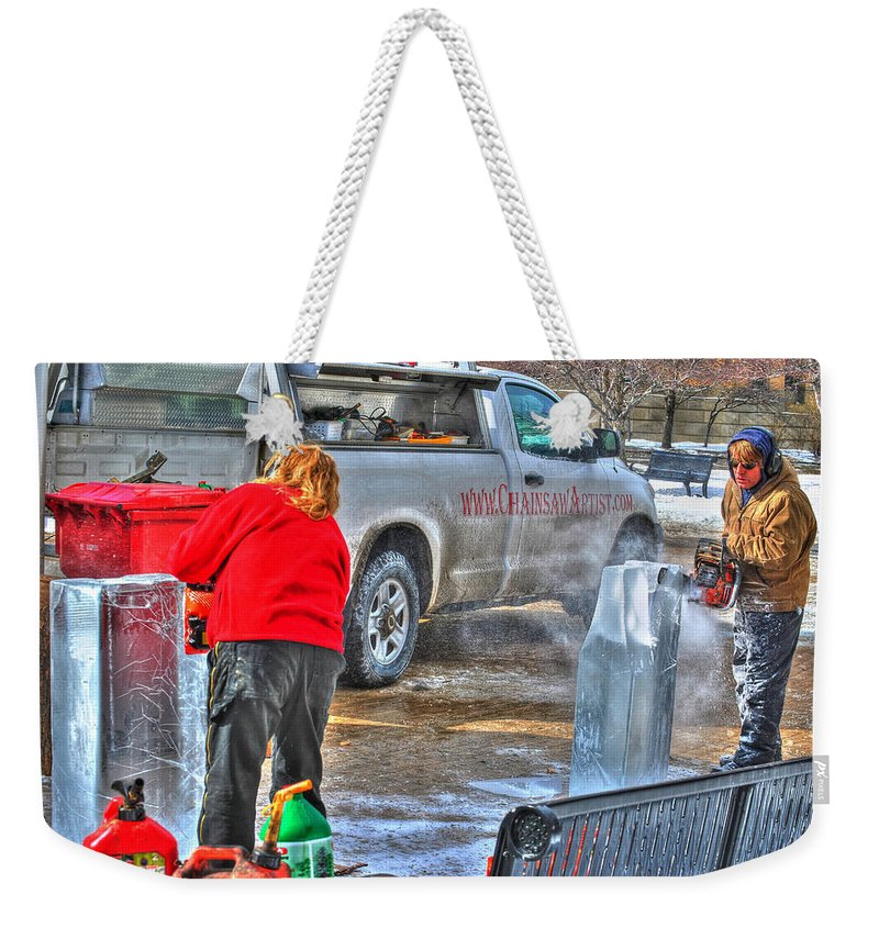 Weekender Tote Bag featuring the photograph Winter Fest Ice Sculpting by Michael Frank Jr