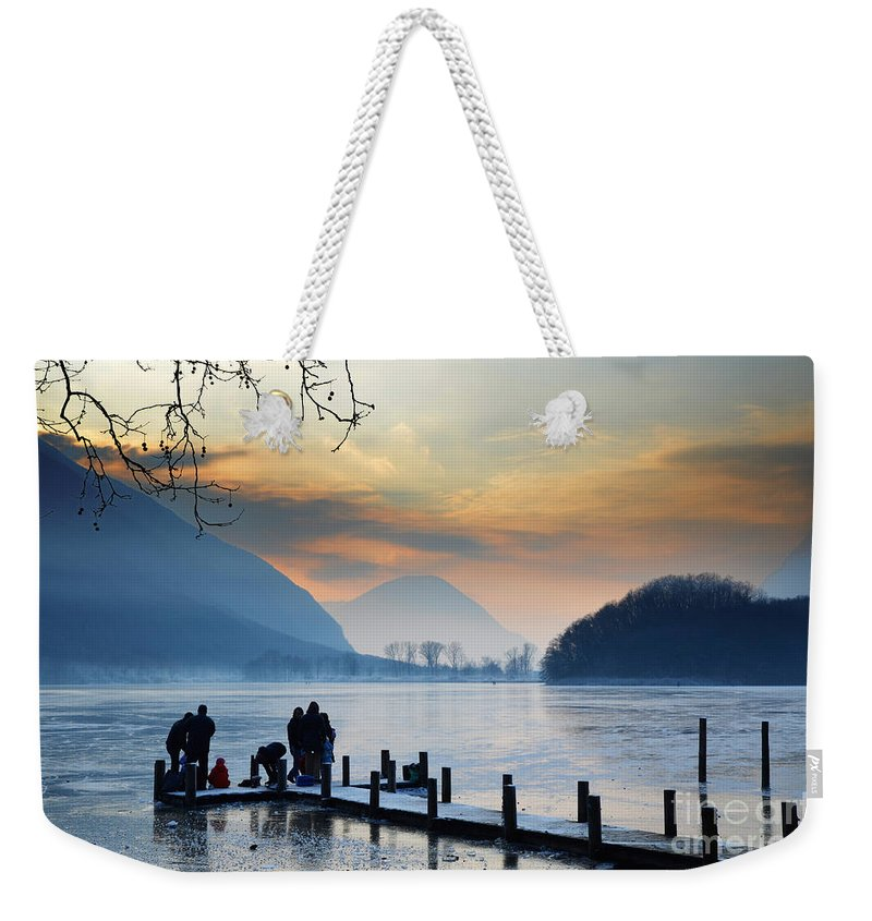 Frost Weekender Tote Bag featuring the photograph Winter Lake by Mats Silvan