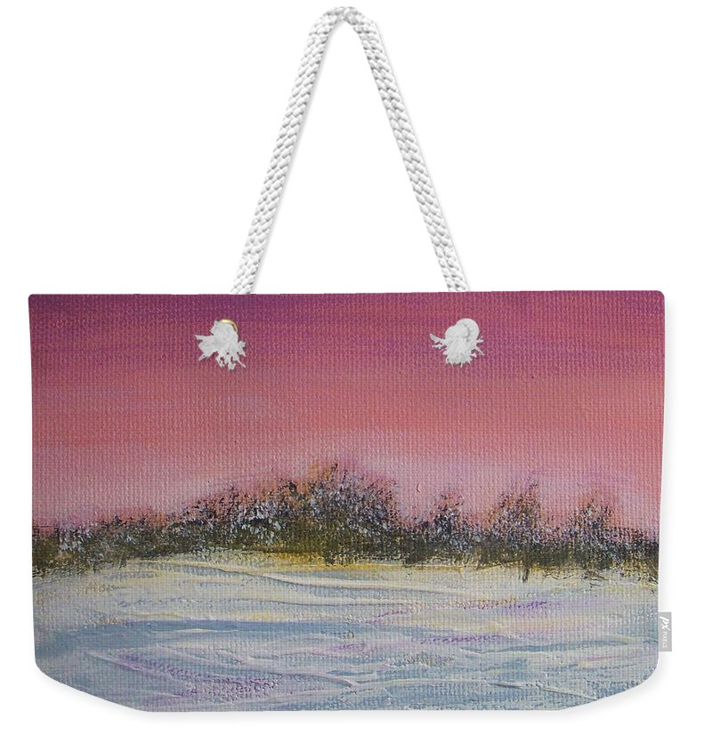 Winter Weekender Tote Bag featuring the painting Winter Meadow by Vesna Antic