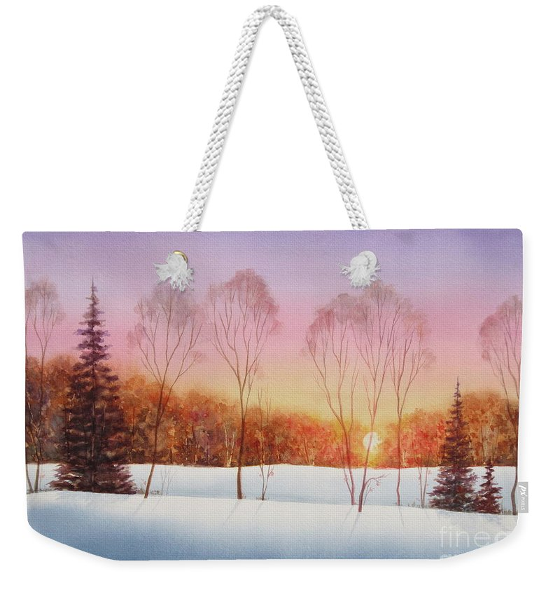 Winter Sunset Weekender Tote Bag featuring the painting Winter Sunset by Deborah Ronglien