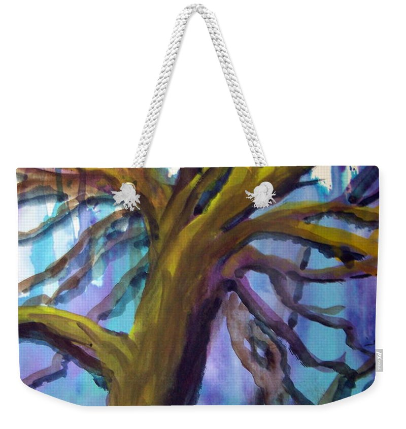 Colorful Tree Weekender Tote Bag featuring the painting Winter Tree by Hal Newhouser