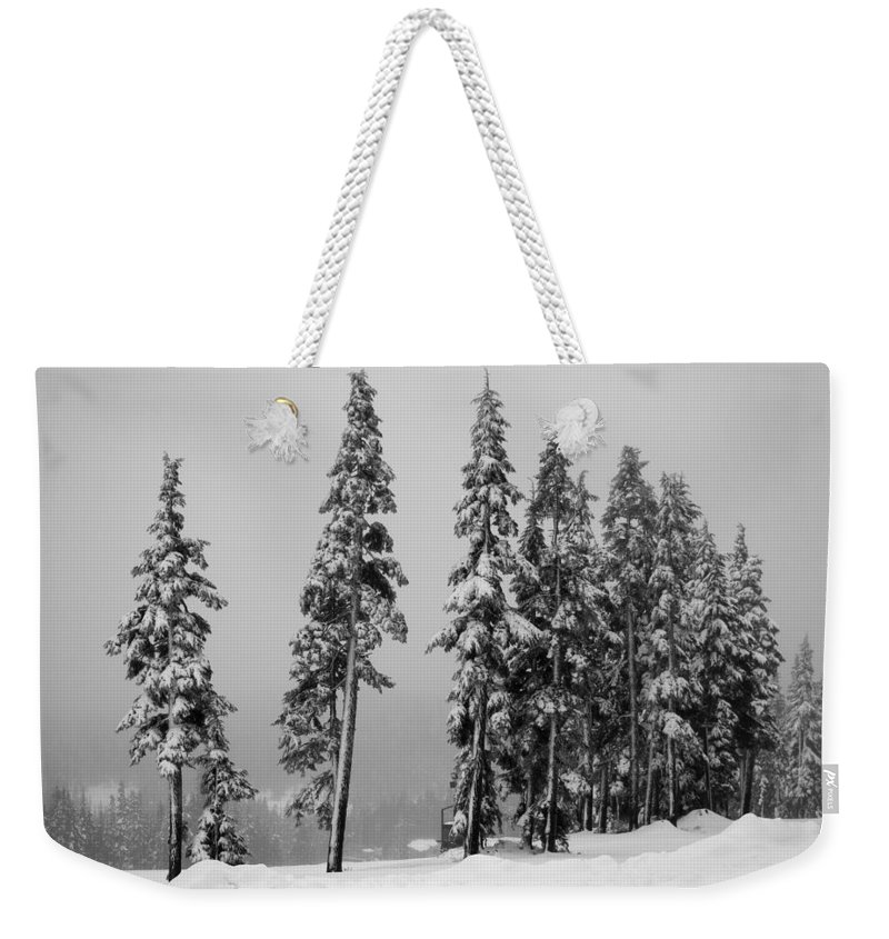Winter Weekender Tote Bag featuring the photograph Winter Trees On Mount Washington - Bw by Marilyn Wilson