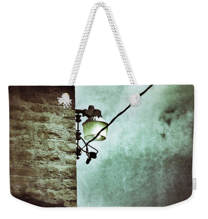 House Weekender Tote Bag featuring the photograph Wires On House In Storm by Jill Battaglia