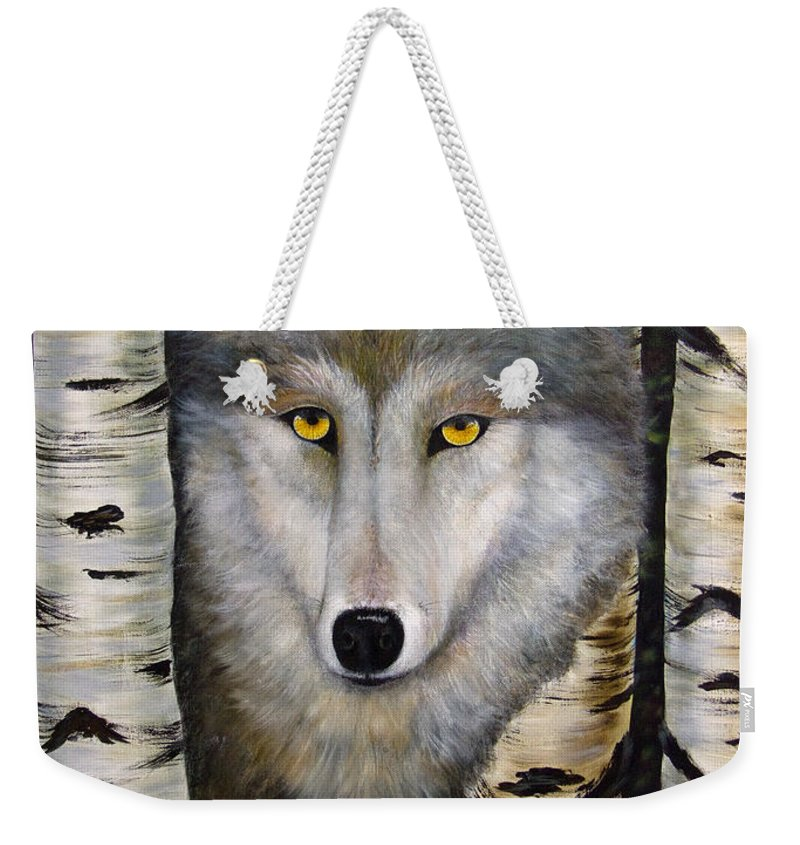Wolf Weekender Tote Bag featuring the painting Wolf Beauty by Dee Carpenter