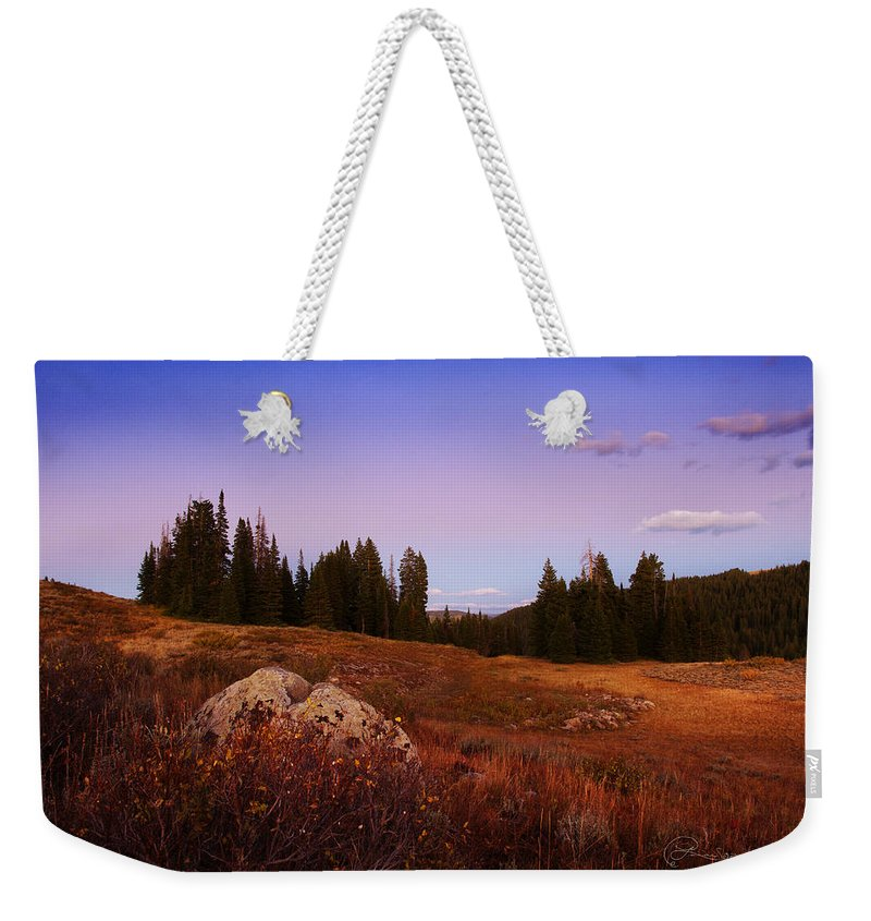 Landscapes Weekender Tote Bag featuring the photograph Wolf Creek Twighlight by La Rae Roberts
