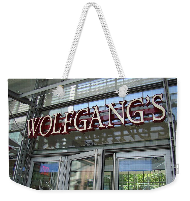 Wolfgangs Restaurant Scenic Reflections New York City Weekender Tote Bag featuring the photograph Wolfgangs Reflections by Alice Gipson
