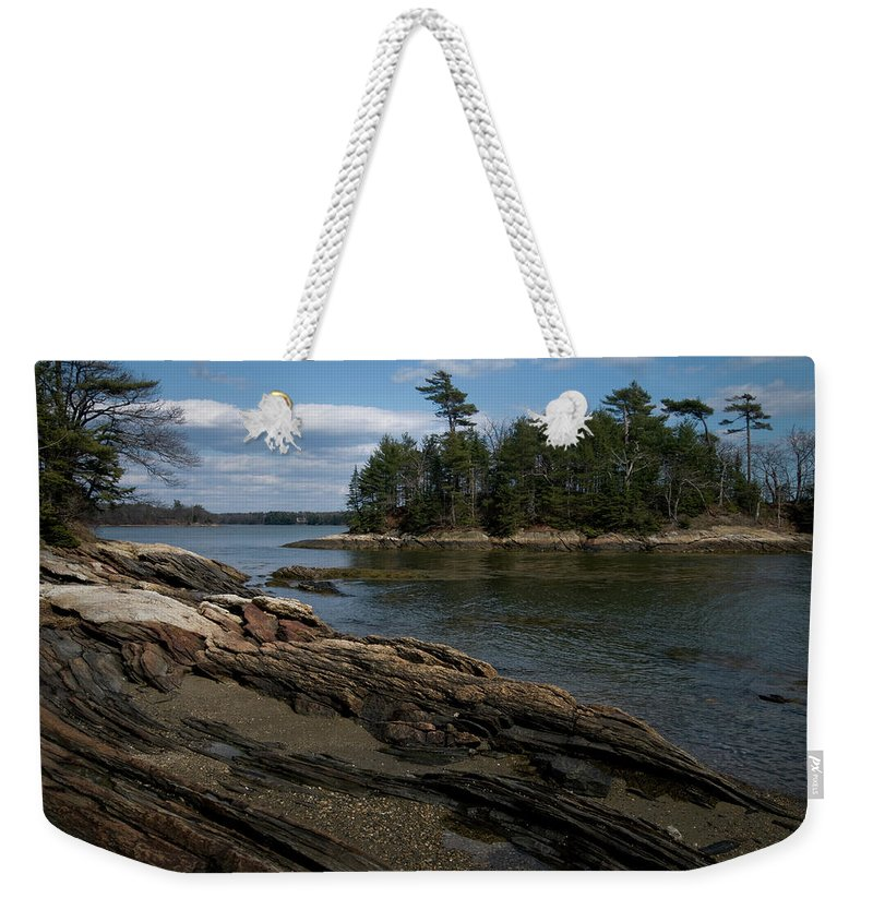 maine Coast Weekender Tote Bag featuring the photograph Wolfs Neck State Park by Paul Mangold