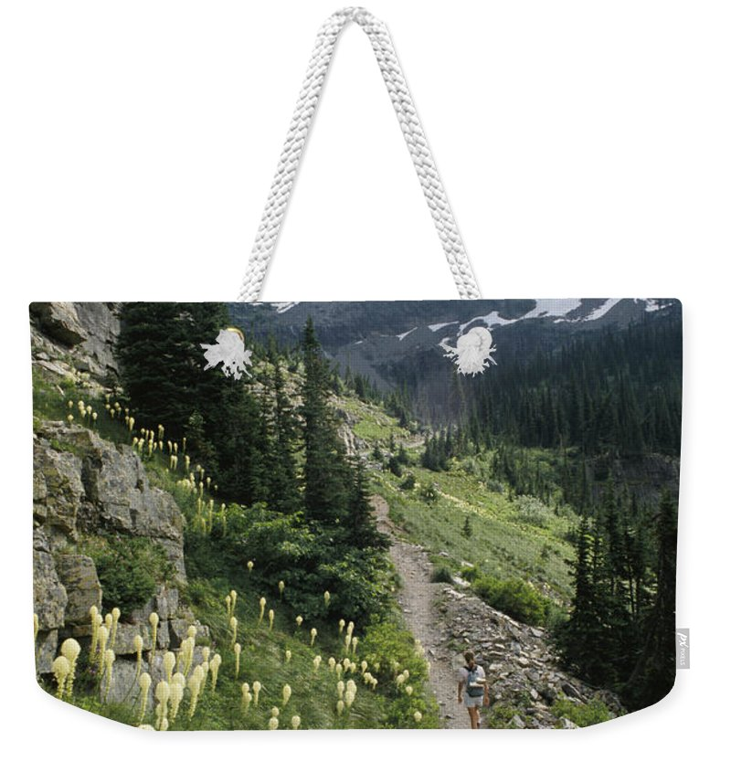 Hikers And Hiking Weekender Tote Bag featuring the photograph Woman Hiking On Sperry Chalet Trail by Skip Brown