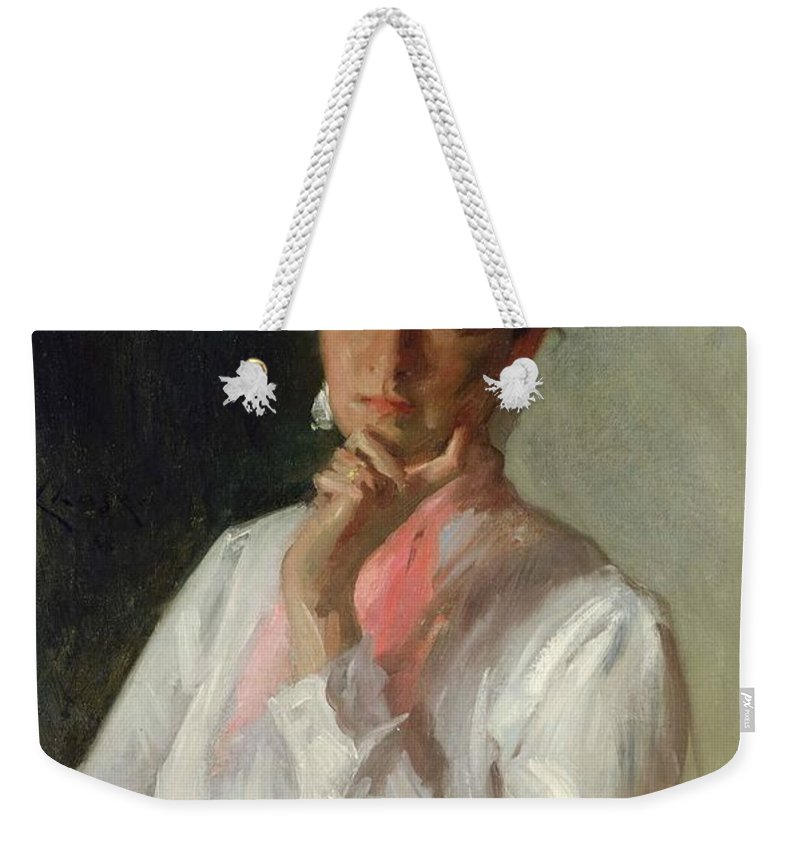 Female Weekender Tote Bag featuring the painting Woman In White by William Merritt Chase