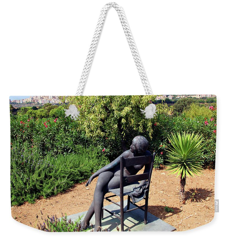 Sculpture Weekender Tote Bag featuring the photograph Woman On A Chair by Madeline Ellis