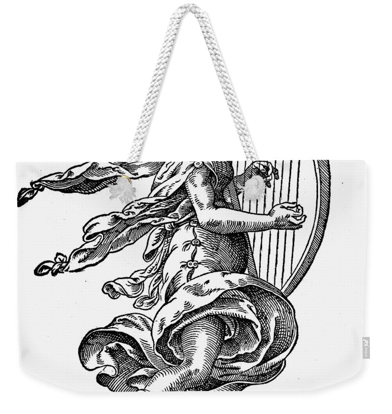 Engraving Weekender Tote Bag featuring the photograph Woman Playing The Harp by Granger