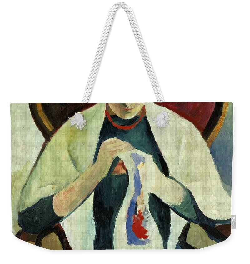 Woman Sewing By August Macke (1887-1914) Armchair; Portrait; Female Weekender Tote Bag featuring the painting Woman Sewing by August Macke
