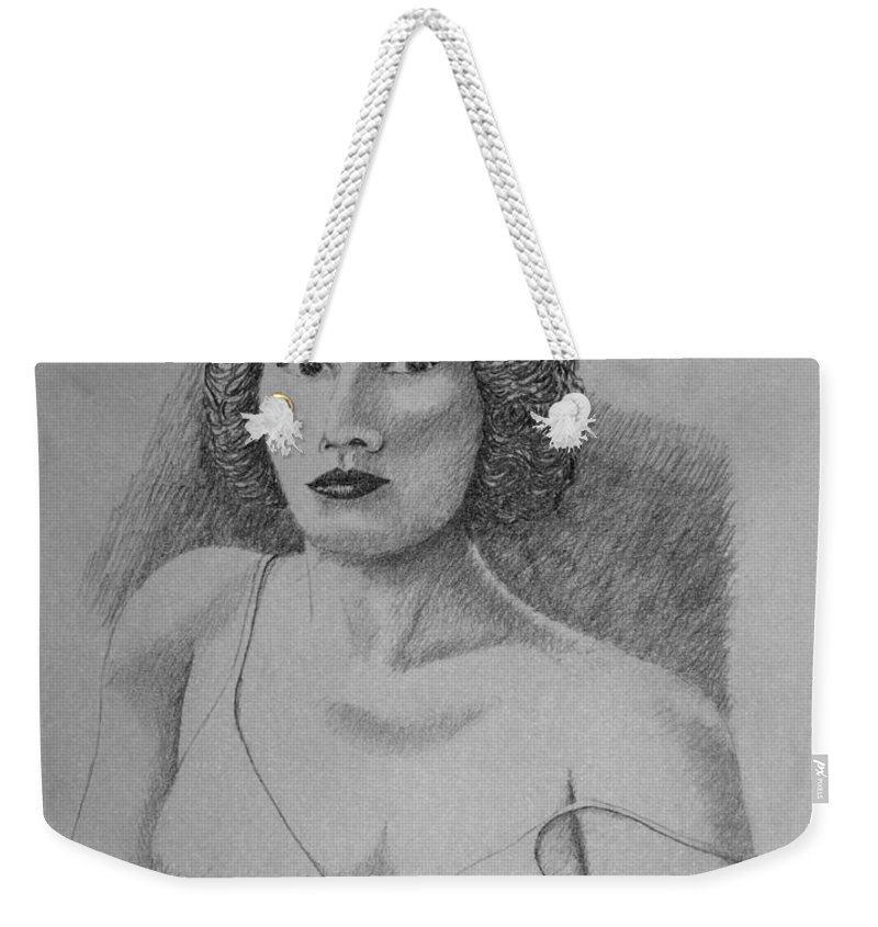 Portrait Weekender Tote Bag featuring the drawing Woman With Strap Off Shoulder by Daniel Reed