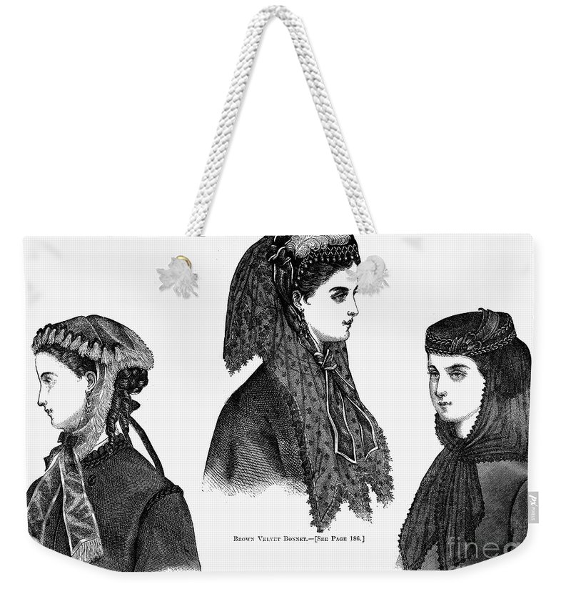 1868 Weekender Tote Bag featuring the photograph Womens Hats, 1868 by Granger
