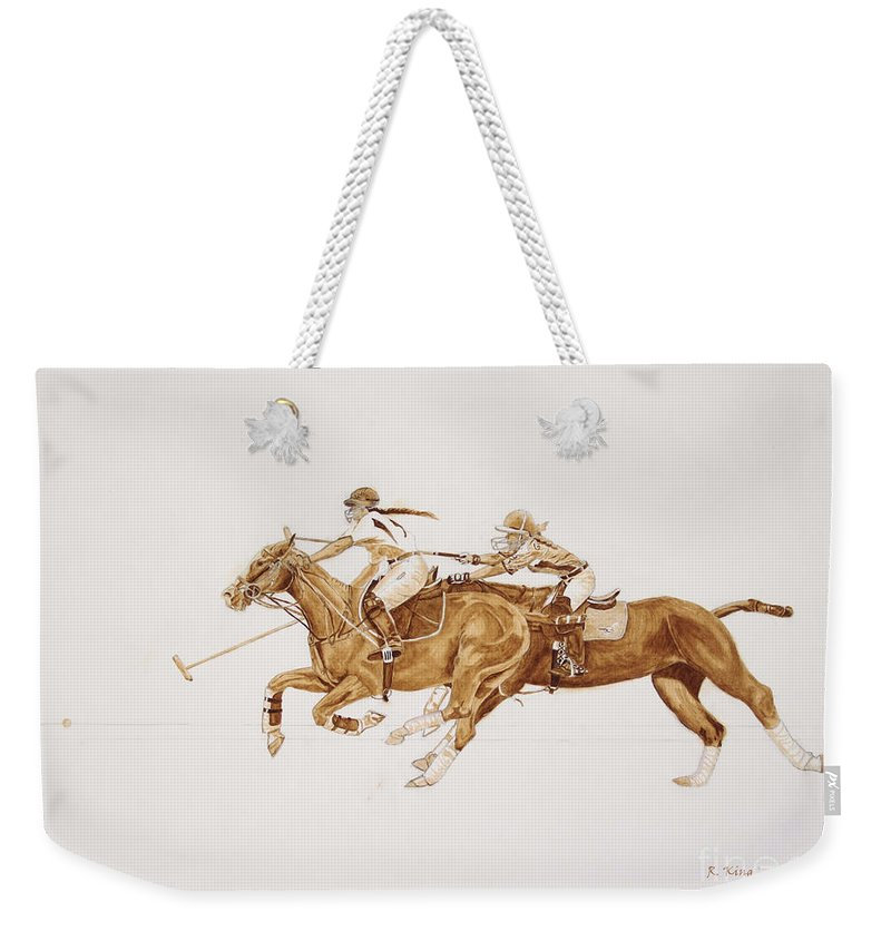 Roena King Weekender Tote Bag featuring the painting Women's Polo Tournament by Roena King