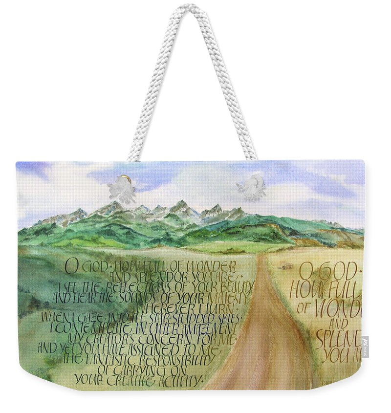 Christian Weekender Tote Bag featuring the painting Wonder And Splendor I by Judy Dodds
