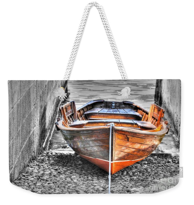 Wood Weekender Tote Bag featuring the photograph Wood Boat by Mats Silvan