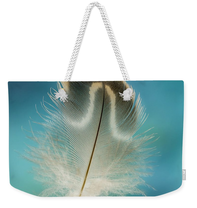 Feather Weekender Tote Bag featuring the photograph Wood Duck Part by Jean Noren