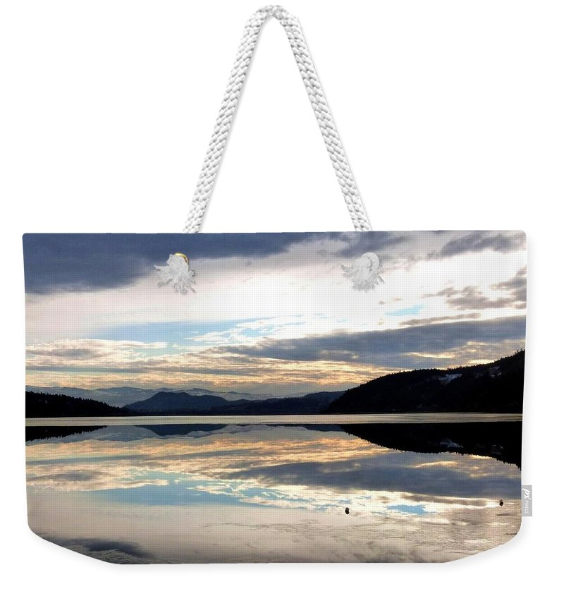 Wood Lake Weekender Tote Bag featuring the photograph Wood Lake Mirror Image by Will Borden