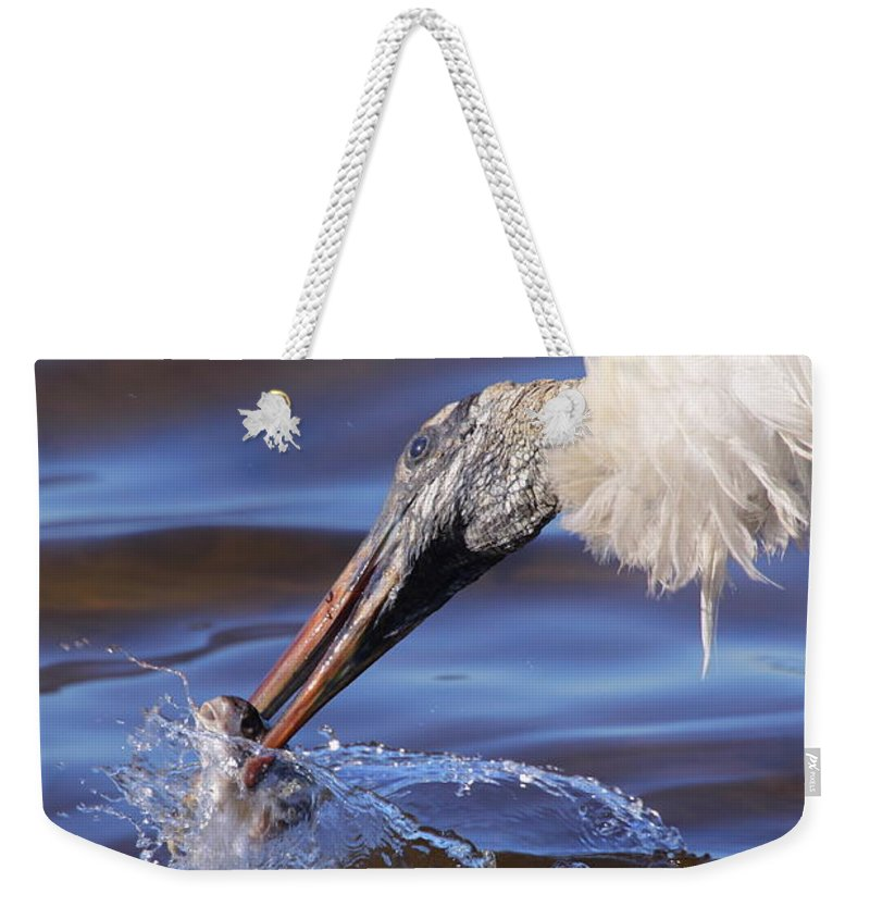 Stork Weekender Tote Bag featuring the photograph Wood Stork Fishing by Bruce J Robinson