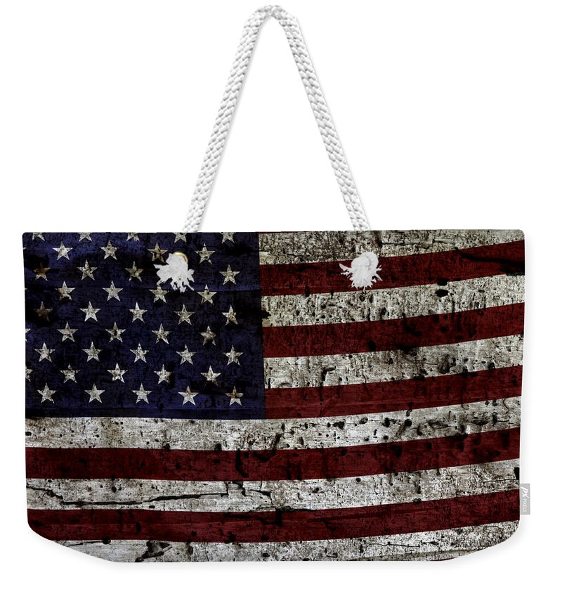 Usa Weekender Tote Bag featuring the photograph Wooden Textured Usa Flag2 by John Stephens