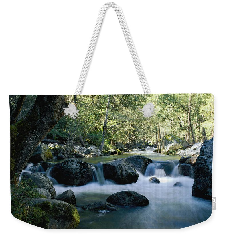 united States Weekender Tote Bag featuring the photograph Woodland View Of A Small Creek Flowing by Marc Moritsch