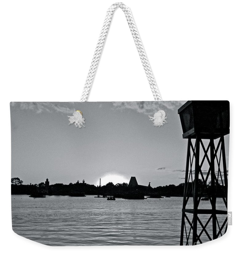 Sunset Weekender Tote Bag featuring the photograph World Showcase Sunset by Carol Bradley