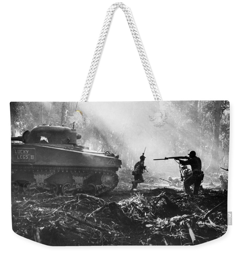 1943 Weekender Tote Bag featuring the photograph World War II: Bougainville by Granger