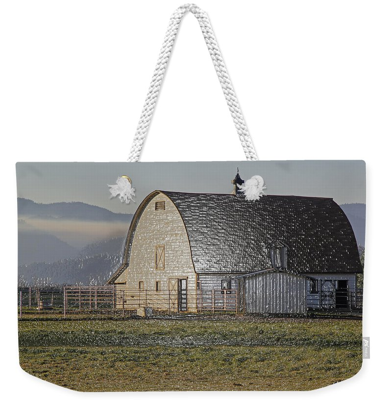 Special Effect Weekender Tote Bag featuring the photograph Wrapped Barn by Mick Anderson