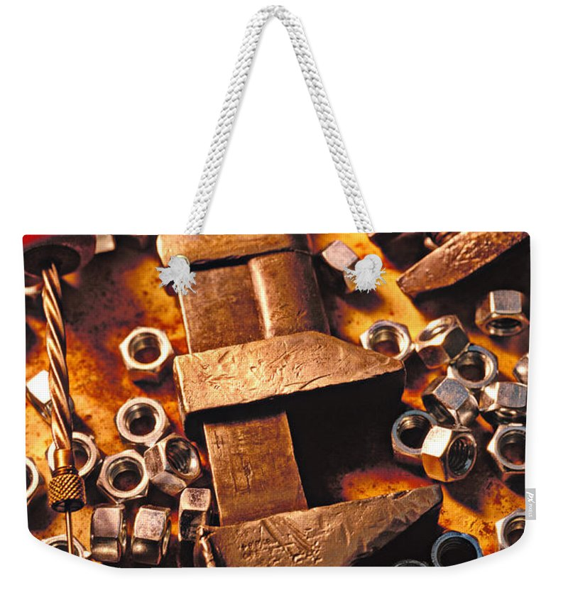 Tool Weekender Tote Bag featuring the photograph Wrench Tools And Nuts by Garry Gay