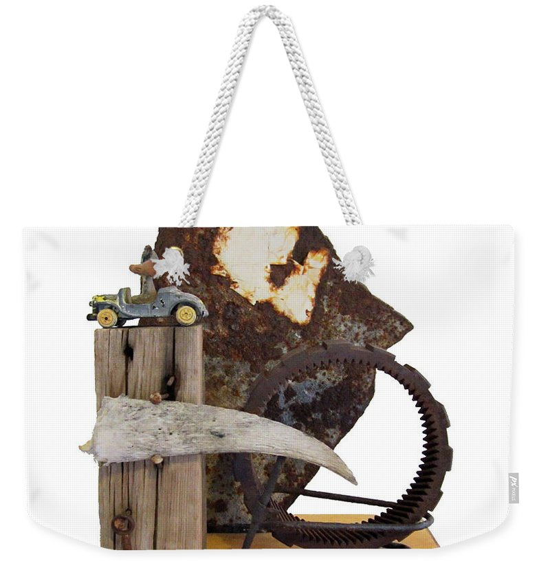 Assemblage Sculptures Weekender Tote Bag featuring the sculpture Wrong Directions by Snake Jagger